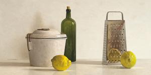 Two Lemons, Rasp, Bottle and Pot