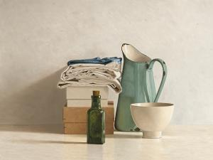 Two Boxes, Cloths, Bottle, Jug and Bowl