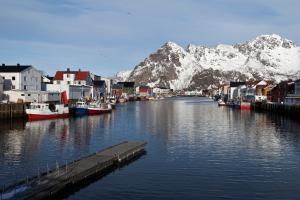 Henningsvaer Hafen  Lofoten im Winter