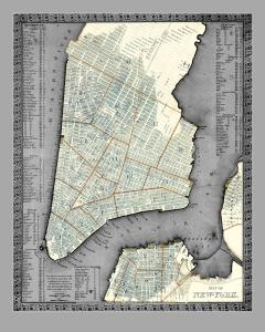 Vintage Gray NYC Map