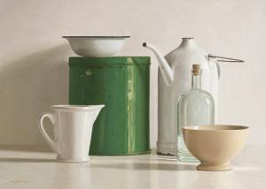 Green tin box, bottle, 2 jugs and 2 bowl