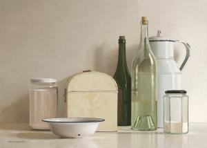 2 jars, 2 bottles, jug, tin box and bowl