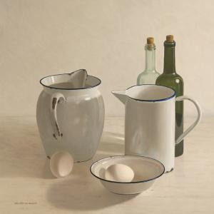2 jugs, 2 bottles, 2 eggs and a bowl