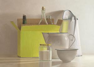 Still life with yellow box, bottles and