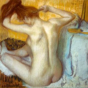 Frau bei ihrer Toilette