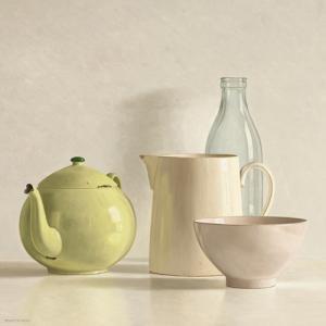 Yellow Teapot, Bottle, Bowl and Jug