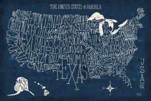 Hand Lettered US MAP Blueprint
