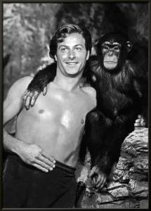Lex Barker with Cheeta