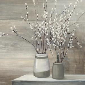 Pussy Willow Still Life with Grey Pots C