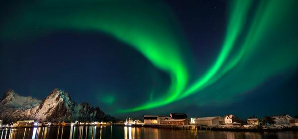 Nordlicht in Svolvaer Lofoten