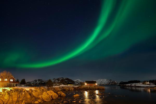 Ballstad Lofoten Nordlicht