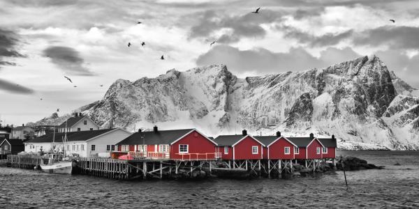 Lofoten Nähe Reine mit roten Hütten
