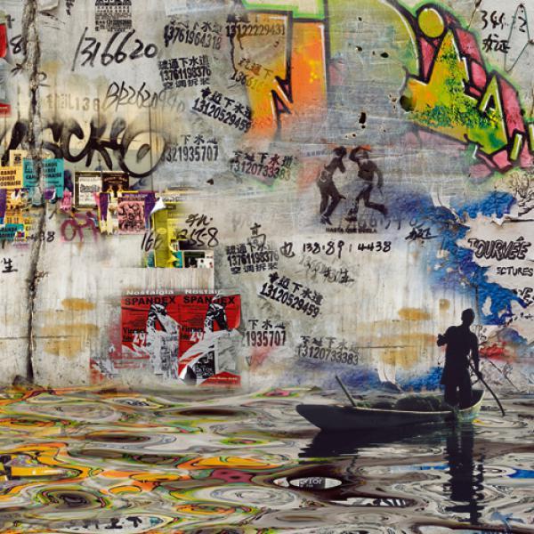 Impressions urbaines: pêcheur de graffit