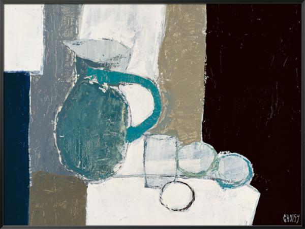 Composition au pichet bleu