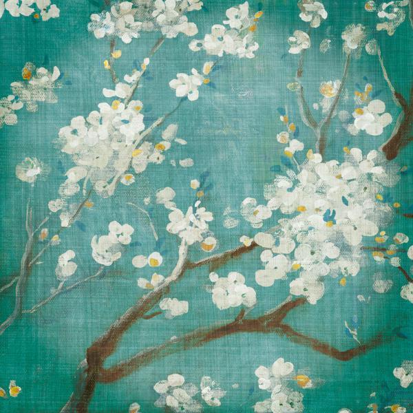 White Cherry Blossoms I on Blue Aged No