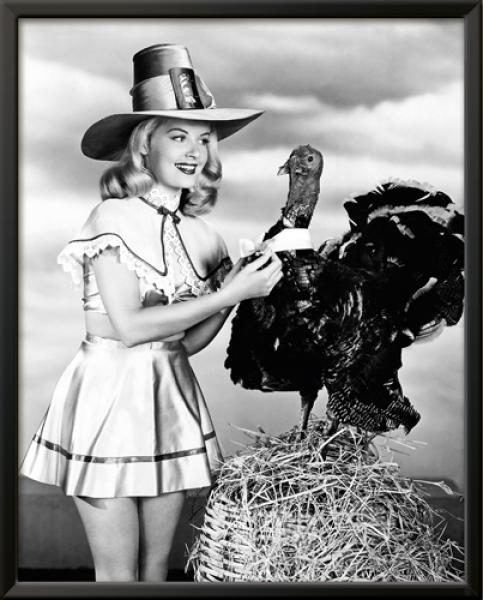Doris Day with a Thanksgiving Turkey