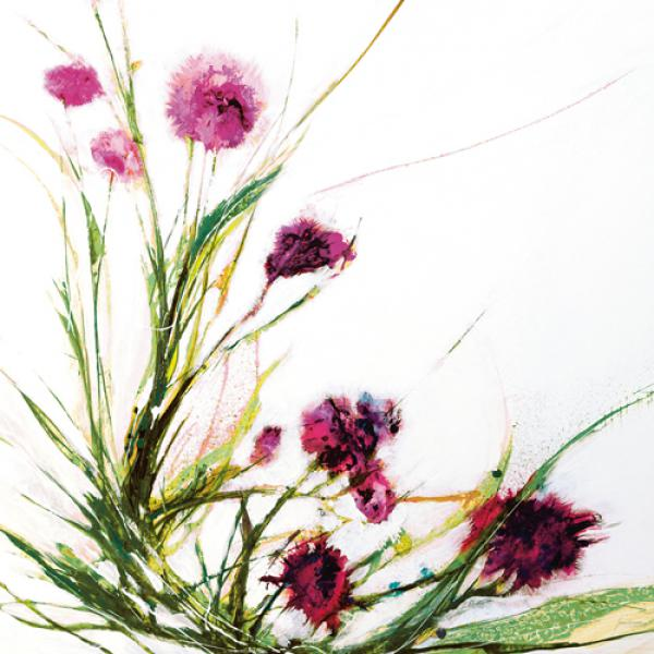 Flowers in the Wind on White